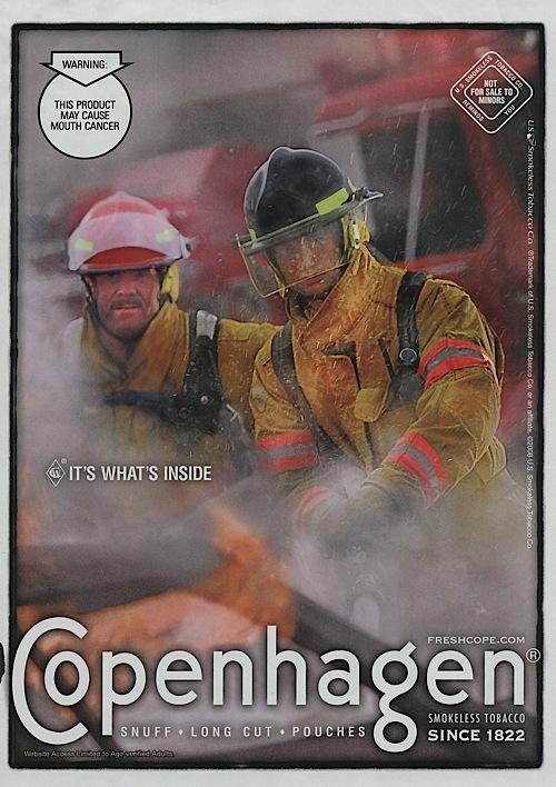 Smokeless tobacco features firemen engulfed in smoke  - Make